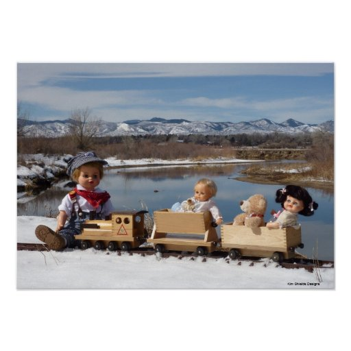 Vintage dolls and train for baby boy room posters