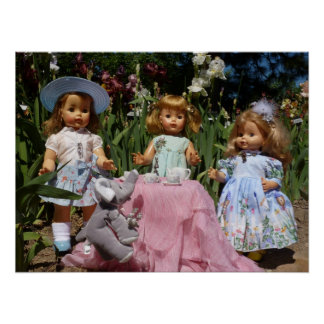 Vintage Dolls Elegant Tea Party Poster