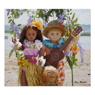 Vintage Dolls in Hawaii Poster for girl's room