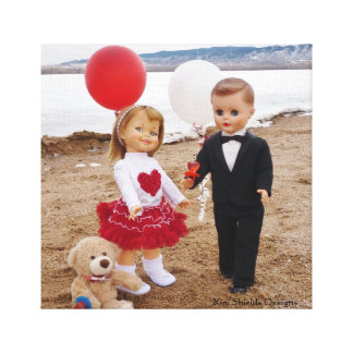 Vintage Dolls- Valentine's Day Wrapped Canvas Stretched Canvas Print