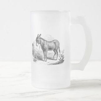Vintage Domestic Donkey Personalized Retro Donkeys Frosted Glass Beer Mug