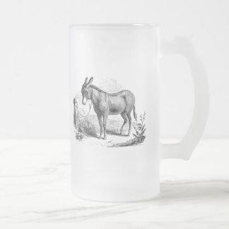Vintage Domestic Donkey Personalized Retro Donkeys Frosted Glass Beer Mug