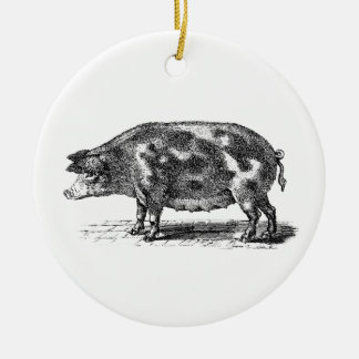 Vintage Domestic Pig Illustration - 1800's Hogs Double-Sided Ceramic Round Christmas Ornament