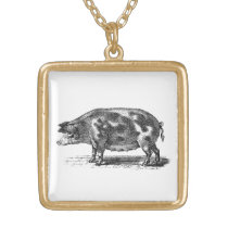Vintage Domestic Pig Illustration - 1800's Hogs Gold Plated Necklace