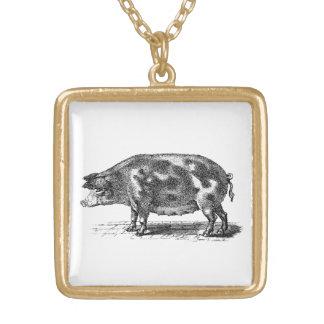 Vintage Domestic Pig Illustration - 1800's Hogs Square Pendant Necklace