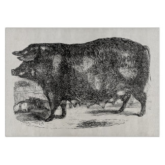Vintage Domestic Pig Piglets Personalized Animals Cutting Boards