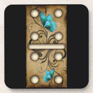 Vintage Dominoes double-four domino tile Beverage Coaster