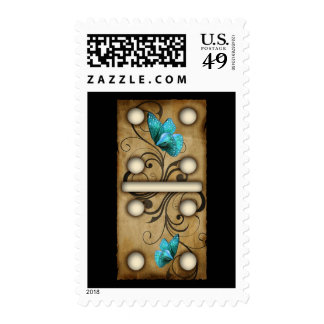 Vintage Dominoes double-four domino tile Postage