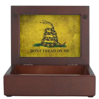 Vintage Don't Tread on Me Gadsden Flag Keepsake Box