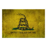 Vintage Don't Tread on Me Gadsden Flag Poster