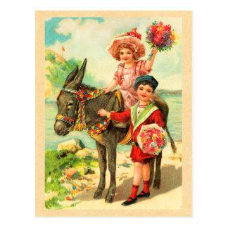 Vintage Donkey Birthday Postcard