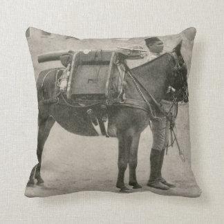 Vintage Donkey Cannon Artillery Soldier Gun Pillow