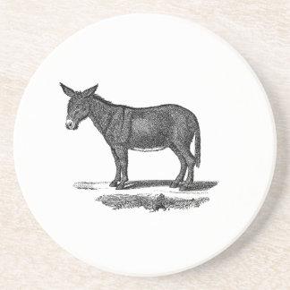 Vintage Donkey Illustration -1800's Donkeys Drink Coaster