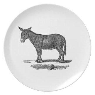 Vintage Donkey Illustration -1800's Donkeys Melamine Plate