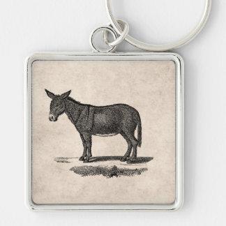 Vintage Donkey Illustration -1800's Donkeys Silver-Colored Square Keychain