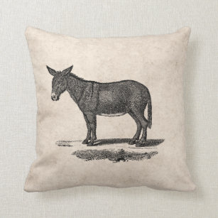 f06766e6 Vintage Donkey Illustration - 1800's Donkeys Throw Pillow
