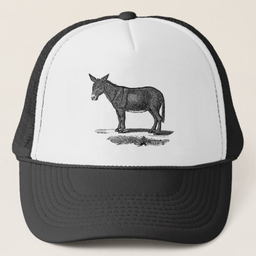 Vintage Donkey Illustration _1800s Donkeys Trucker Hat