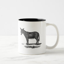 Vintage Donkey Illustration - 1800's Donkeys Two-Tone Coffee Mug