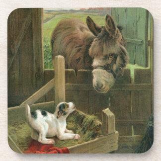 Vintage Donkey & Puppy Dog in Manger Old Barnyard Beverage Coaster