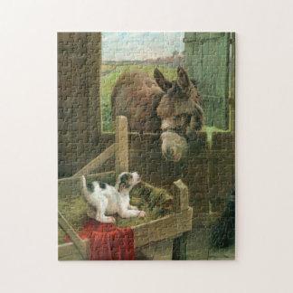 Vintage Donkey & Puppy Dog in Manger Old Barnyard Jigsaw Puzzle