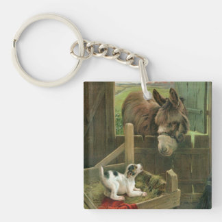 Vintage Donkey & Puppy Dog in Manger Old Barnyard Keychain