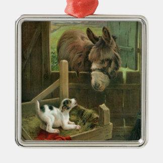 Vintage Donkey & Puppy Dog in Manger Old Barnyard Metal Ornament