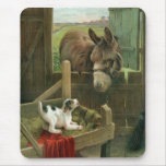 Vintage Donkey & Puppy Dog in Manger Old Barnyard Mouse Pad