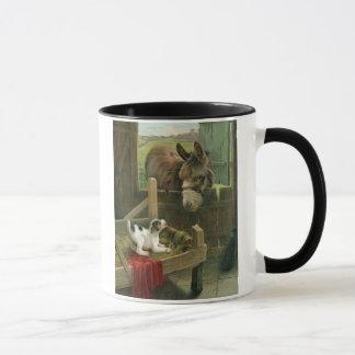 Vintage Donkey & Puppy Dog in Manger Old Barnyard Mug