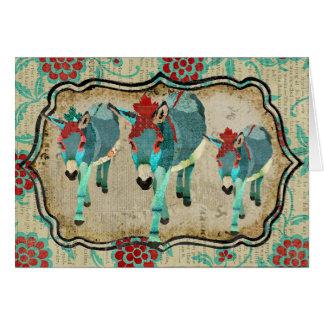Vintage Donkeys Notecard Greeting Cards