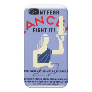 Vintage Don't Fear Cancer WPA Poster iPhone 4/4S Cover