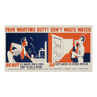 Vintage Don't Waste Water WPA Poster