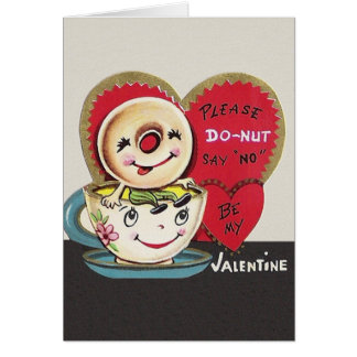 Vintage Donut and Coffee Cup Valentine's Day Card