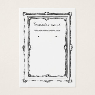 Vintage Doodle Dark Frame Background Earring Cards