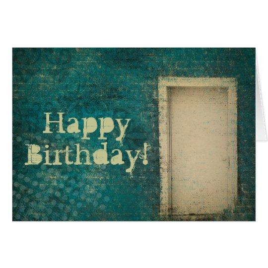 Vintage Door Background Happy Birthday Card