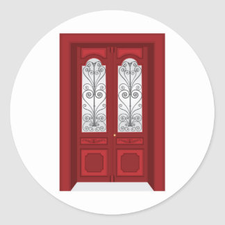 Vintage door classic round sticker