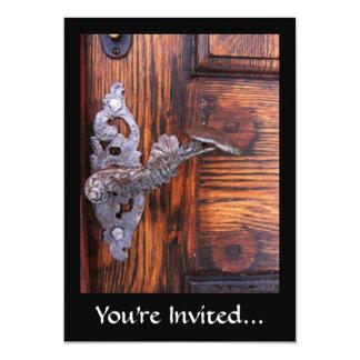 Vintage Door Handle, Aged Wood Real Estate 5x7 Paper Invitation Card