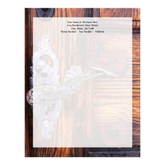 Vintage Door Handle, Aged Wood Real Estate Letterhead