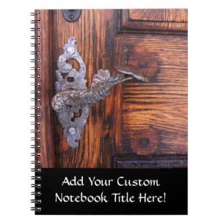 Vintage Door Handle, Aged Wood Real Estate Spiral Notebook