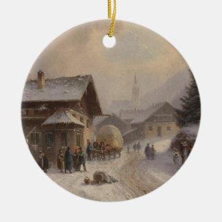 Vintage Dorfstr Germany in Winter Ceramic Ornament