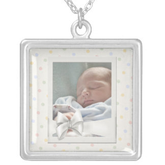 Vintage Dots Photo Frame Baby Picture Necklace