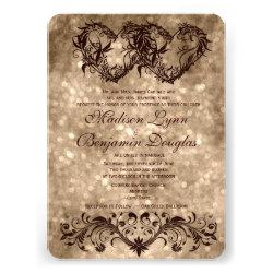 Vintage Double Hearts Champagne Wedding Invitation