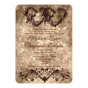Vintage Double Hearts Champagne Wedding Invitation Invites