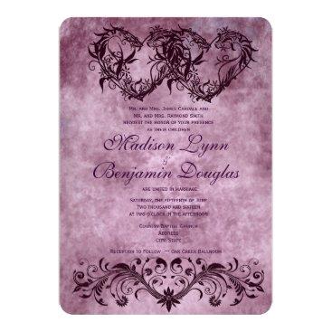RusticCountryWedding Vintage Double Hearts Purple Wedding Invitations