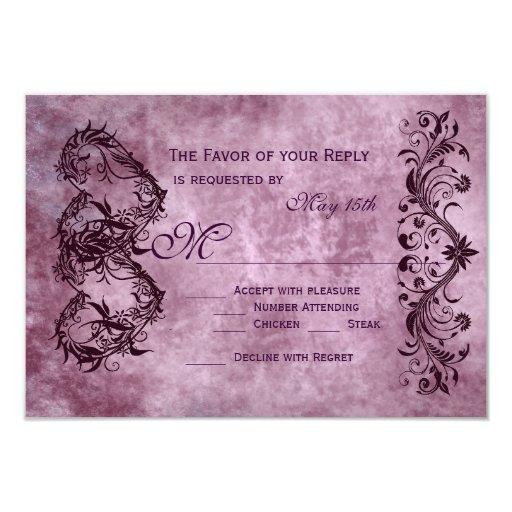 Vintage Double Hearts Purple Wedding RSVP Cards