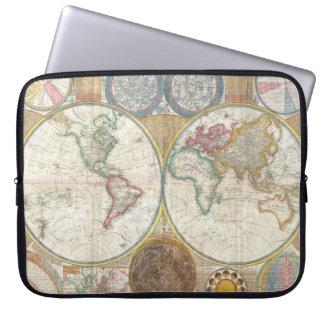 Vintage Double Hemisphere Map of the World Laptop Sleeves