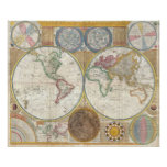 Vintage Double Hemisphere Map of the World Poster