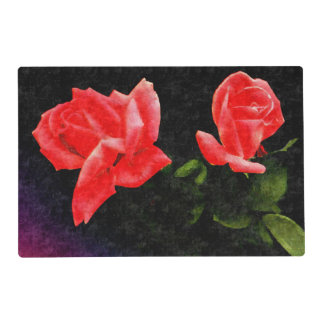 Vintage Double Stylized Rose Laminated Placemat