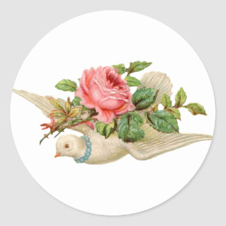 Vintage Dove and Rose Classic Round Sticker