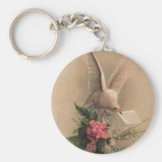 Vintage Dove Basic Round Button Keychain