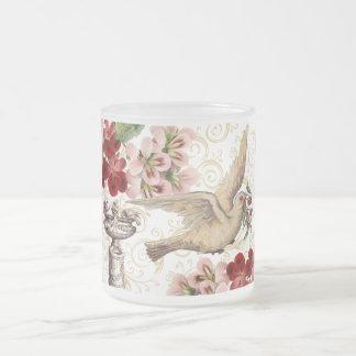 Vintage Dove & Birdbath Frosted Glass Coffee Mug